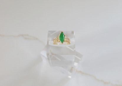 Vintage Marquise Jade Diamond Ring