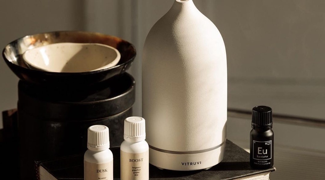 Vitruvi's Boost essential oil contains mood-boosting scents