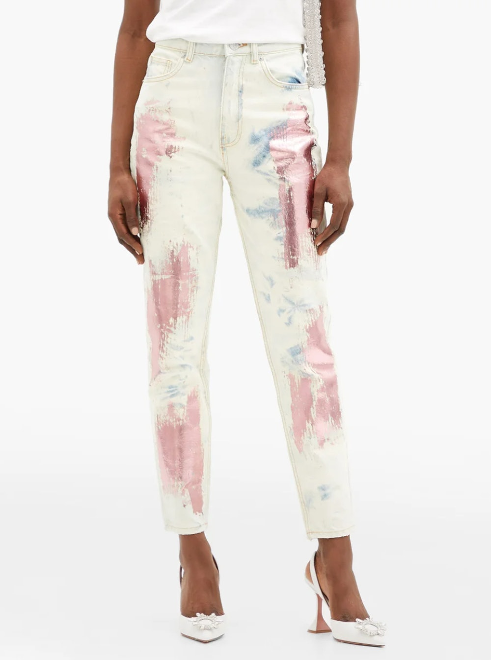 Metallic-Paint High-Rise Slim-Leg Jeans