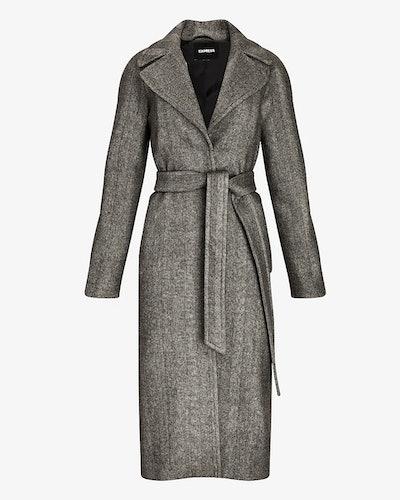 Herringbone Belted Wrap Coat