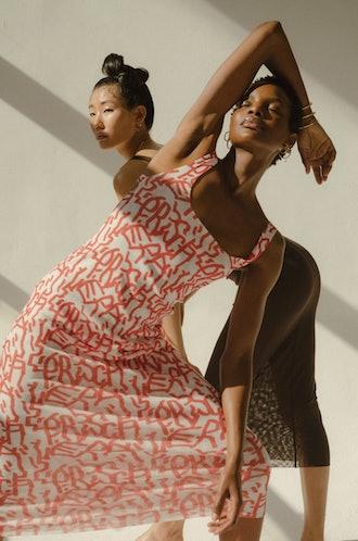 Open Back Print Mesh Dress