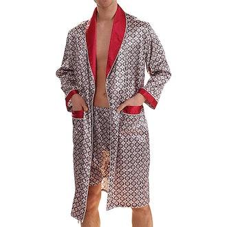 Haseil Satin Robe With Shorts
