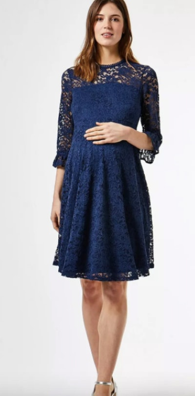 DP Maternity Blue Lace Skater Dress