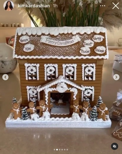 Kim Kardashian shared her personalized gingerbread house from mom Kris Jenner in 2020.