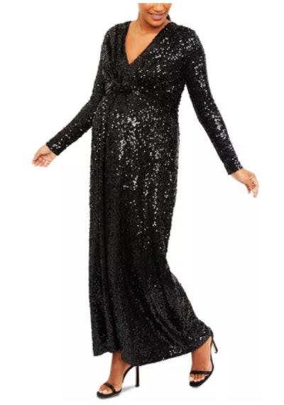 Pietro Brunelli Maternity Sequin Maxi Dress