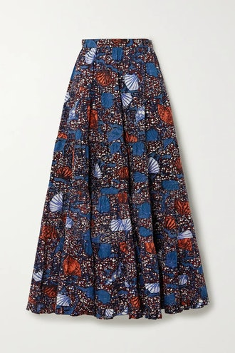 Sylvie pleated printed cotton midi skirt