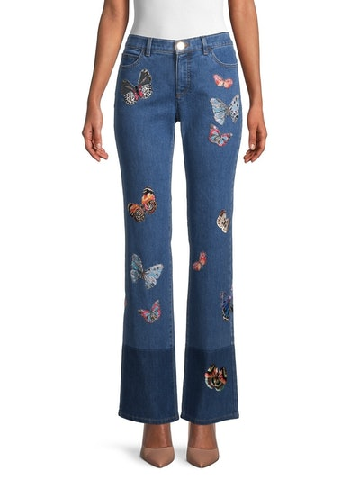Butterfly Embroidered Bootcut Jeans
