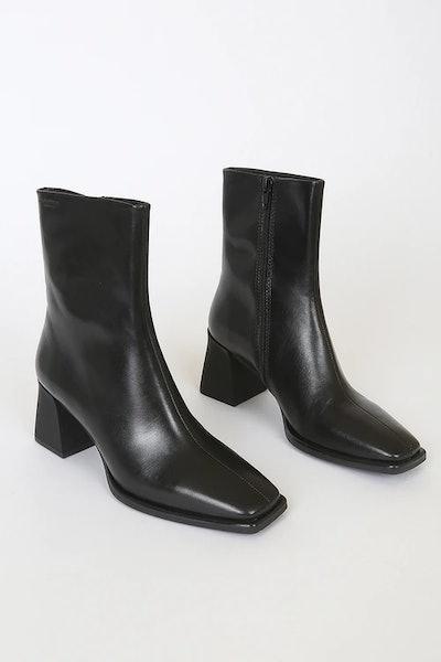 Hedda Black Leather Square-Toe Mid-Calf Boots