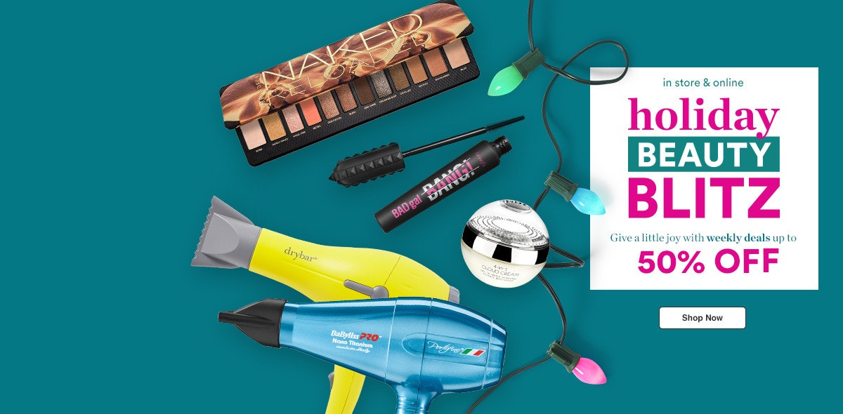 Ulta Beauty's Holiday Beauty Blitz 2020 sale ad showing mascaras, palettes, and hair dryers.