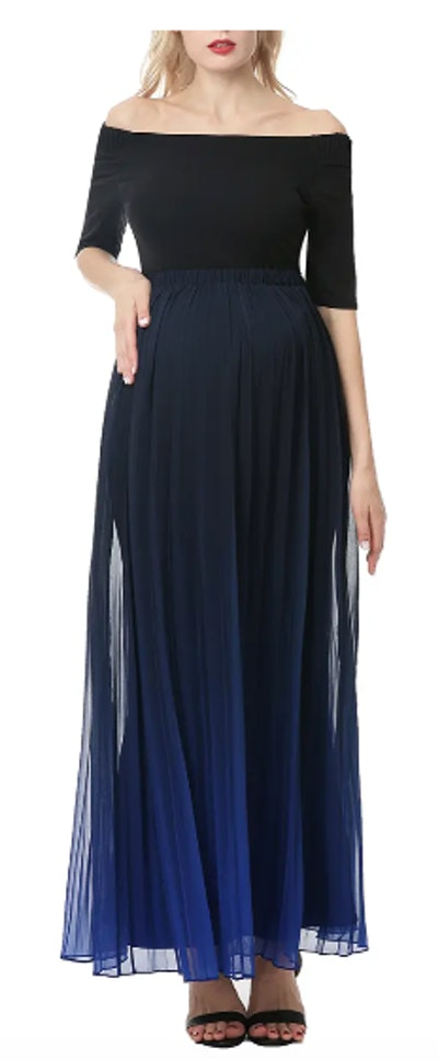 Convertible Neck Maternity Maxi Dress