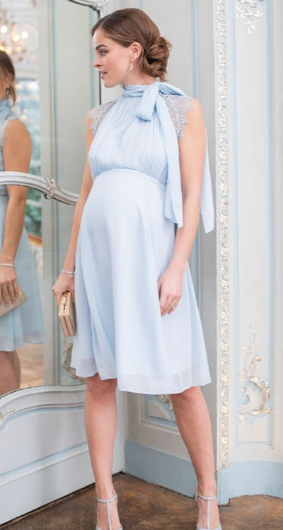 Sky Blue Maternity & Nursing Dress with Neckline Tie