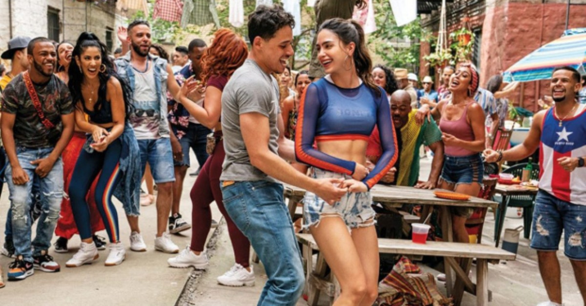 Anthony Ramos and Melisa Barrera in a scene from In the Heights.