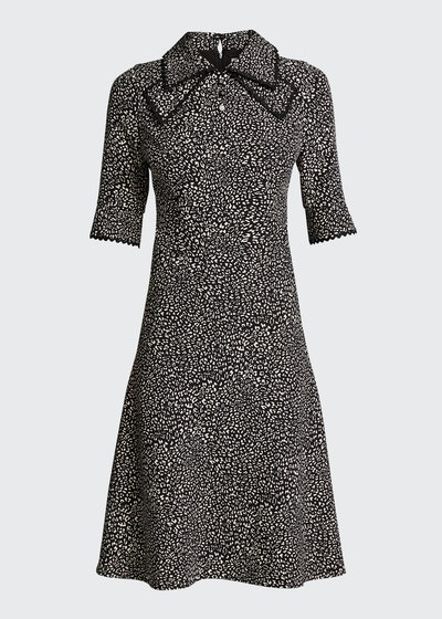 Polka Dot Pintuck Chiffon A-Line Dress