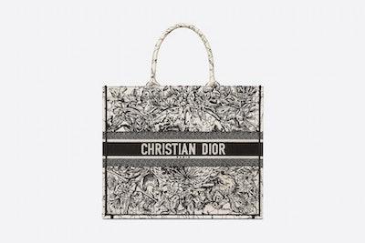 Dior Book Tote - Latte Multicolor Dior Zodiac Embroidery