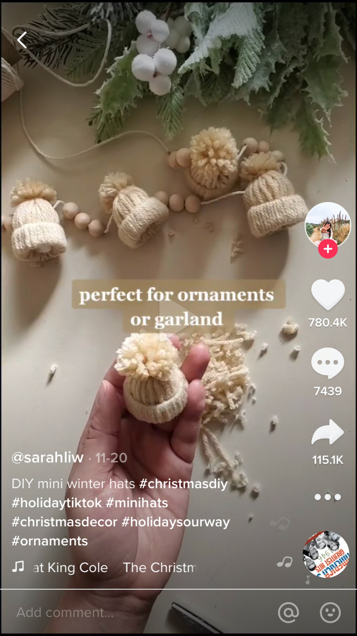A person on TikTok makes a mini winter beanie garland for the holidays.