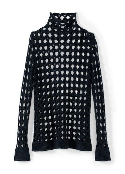 Lace Knit Mock Neck Sweater
