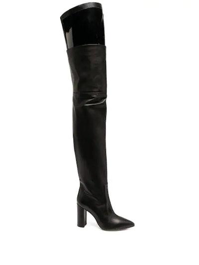 Black thigh-length boots