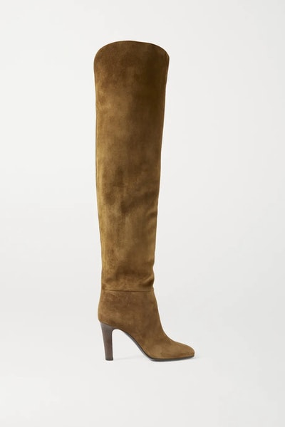 Blu suede over-the-knee boots