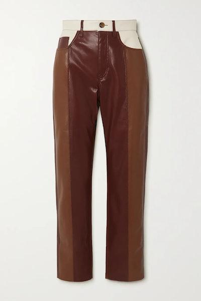 Vinni cropped color-block vegan leather straight-leg pants