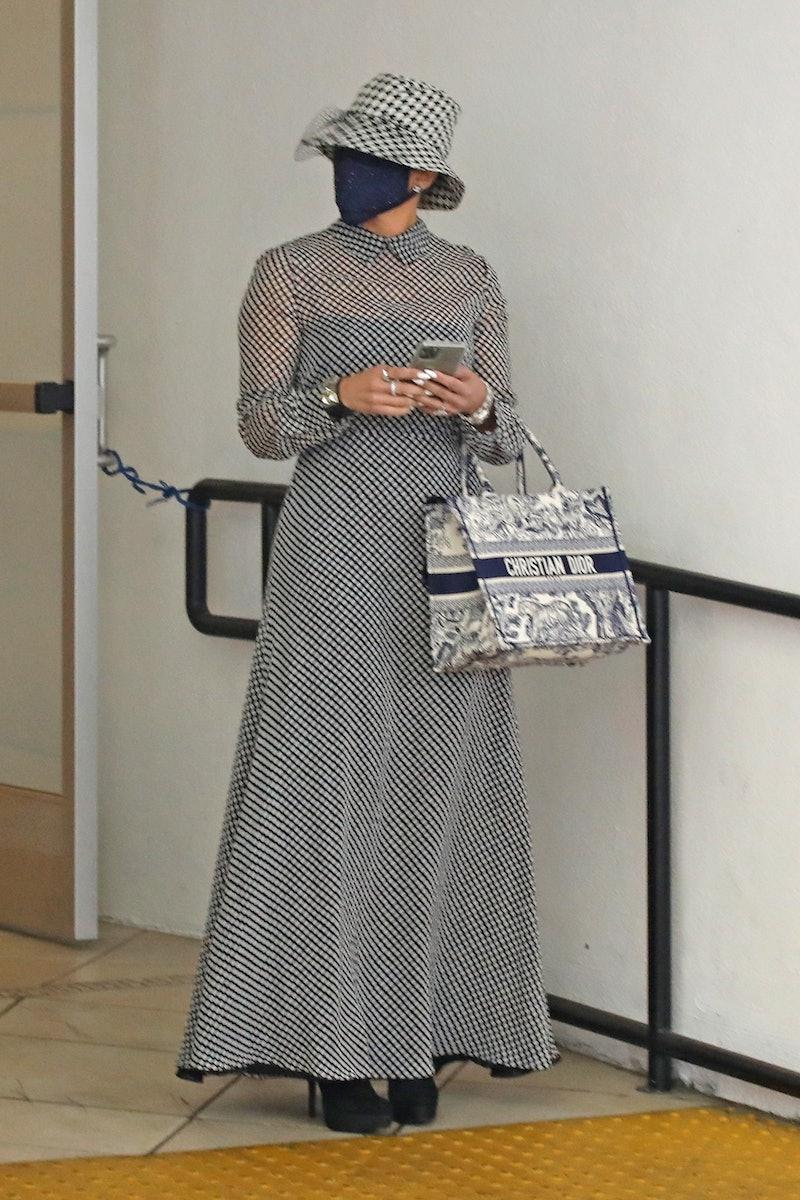 J.Lo wore a polka-dot maxi dress.