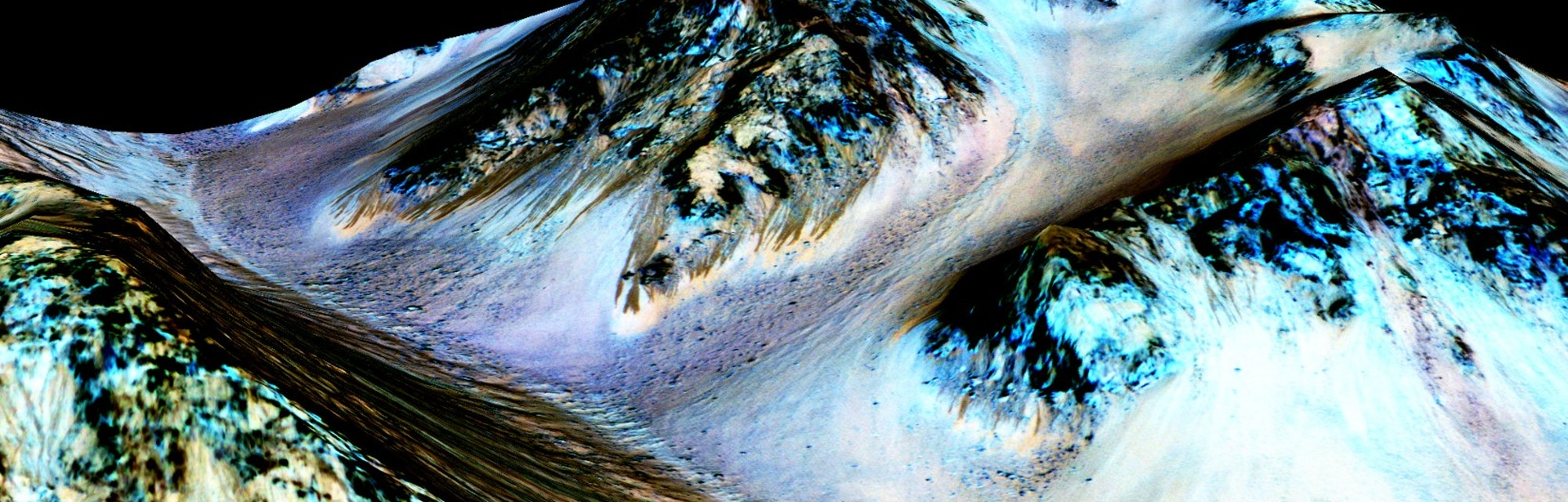 dark, narrow, 100 meter-long streaks called recurring slope lineae flowing downhill on Mars