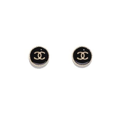 Metal & Resin Gold & Black Earrings