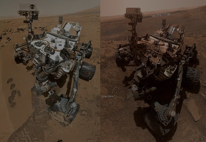 NASA curiosity rover selfie side-by-side
