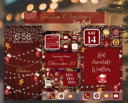 Gold Christmas Aesthetic Holiday iOS 14 Home Screen App Icon Pack