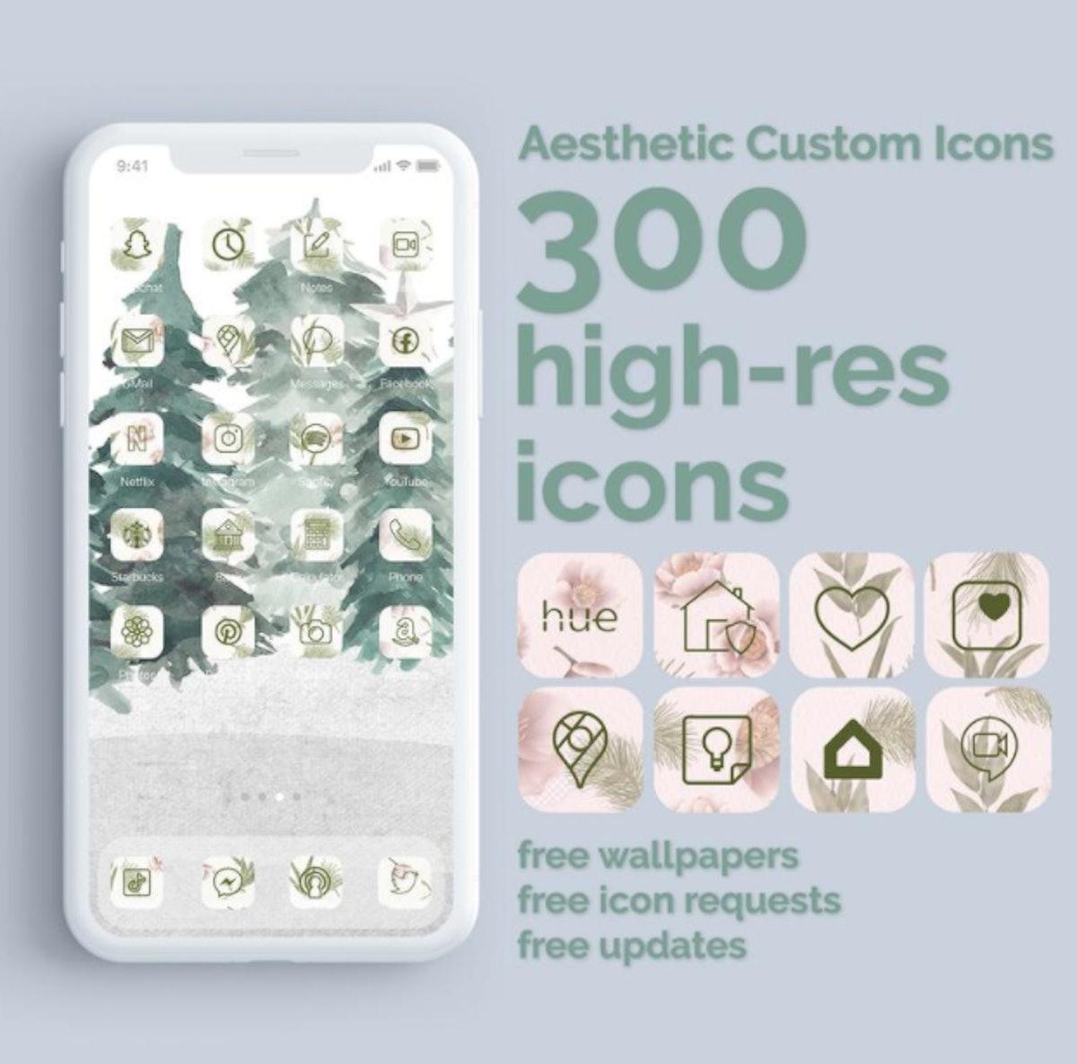 Boho Holiday iOS 14 Home Screen Design Pack