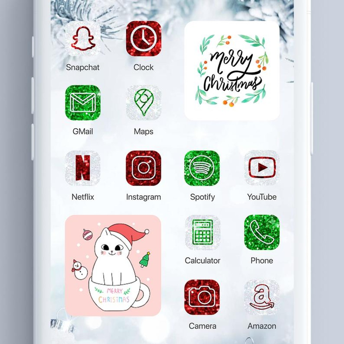 Christmas Glitter iOS 14 Home Screen App Icon Pack