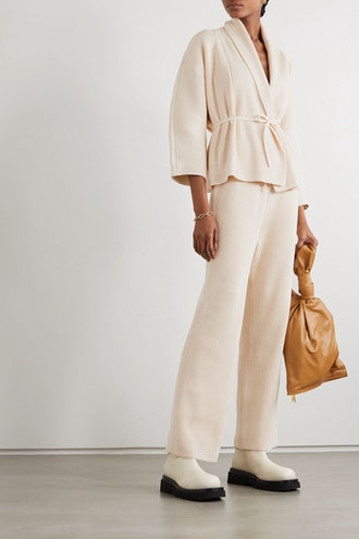 Belted Ribbed Cotton Cardigan