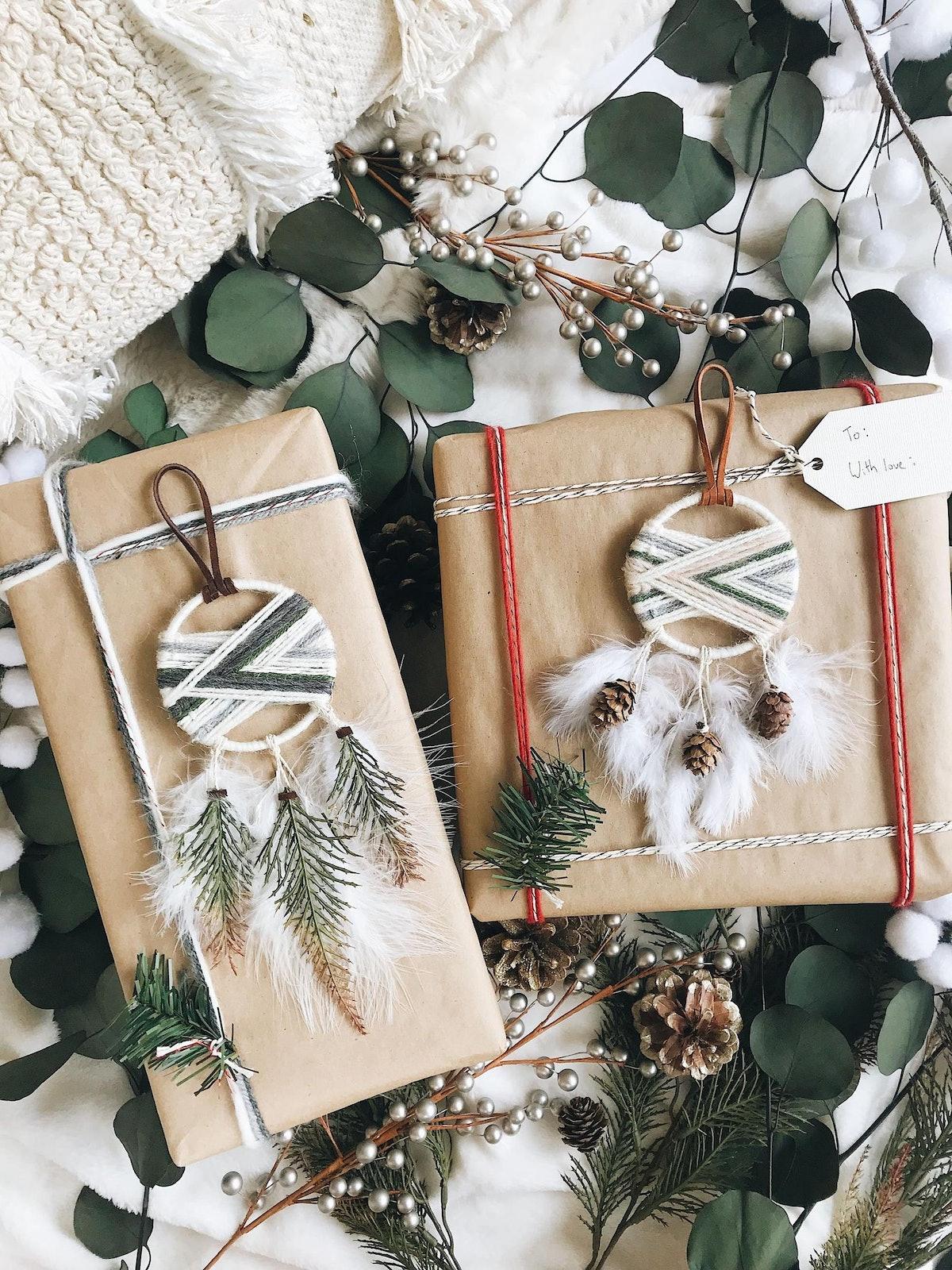 Winter Cabin Dream Catcher Christmas Ornaments — Set of 2