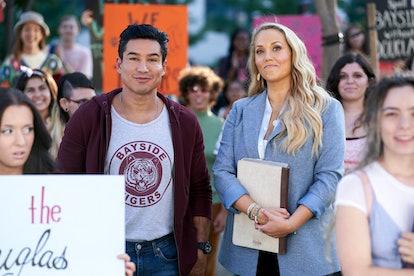 Mario Lopez as A.C. Slater, Elizabeth Berkley as Jessica Spano in 'Saved by the Bell' via Peacock's press site
