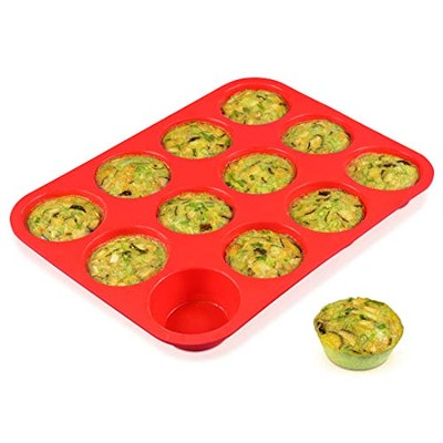 CAKETIME 12 Cups Silicone Muffin Pan