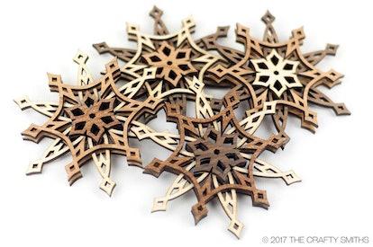 "3D Layered Wood ""Starlight"" Snowflake Christmas Ornament"