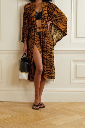 Belted Tiger-Print Stretch-Jersey Robe