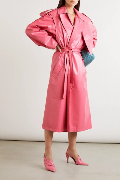 Convertible Crinkled Glossed-Leather Trench Coat