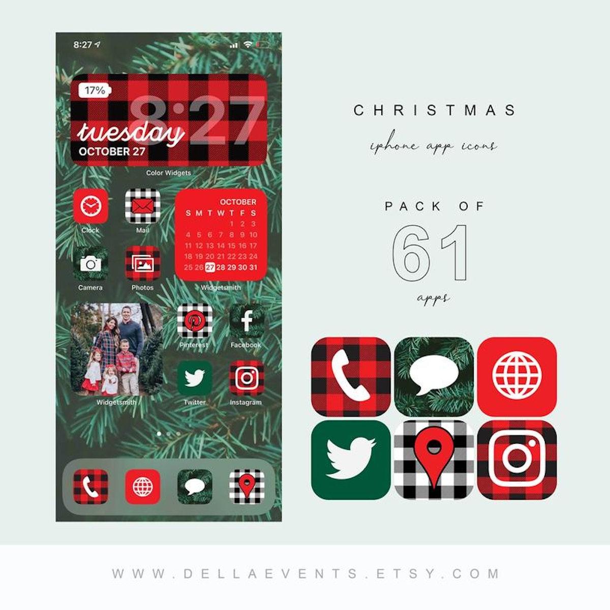 Plaid Christmas Holiday iOS 14 Home Screen Design App Pack