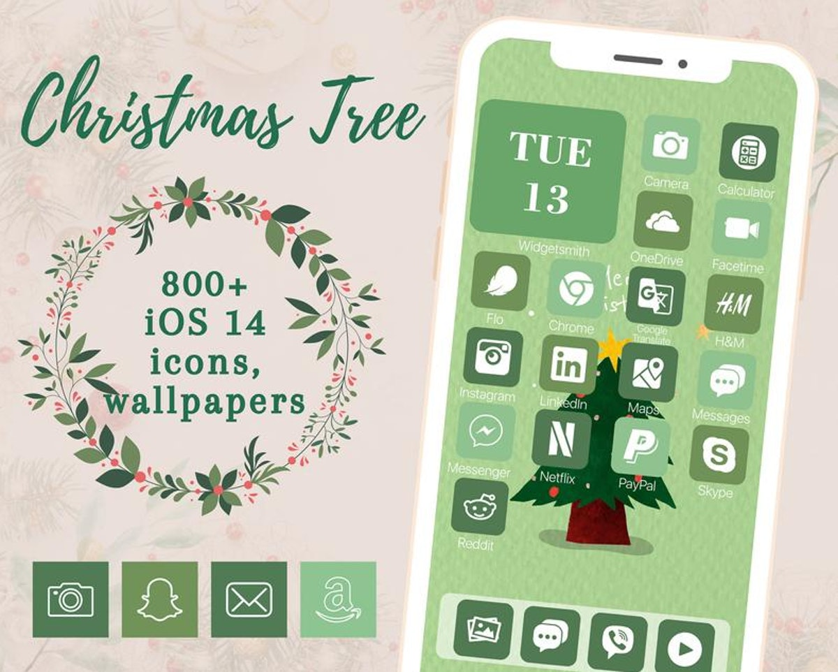 Monochromatic Holiday Christmas Tree iOS 14 Home Screen Design Pack