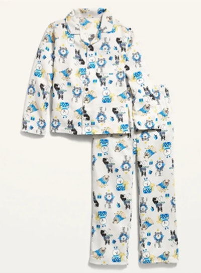 Gender-Neutral Hanukkah-Themed Flannel Pajama Set for Kids