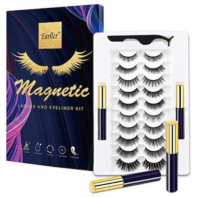 EARLLER Magnetic Eyelashes with Eyeliner Kit,10 Pairs