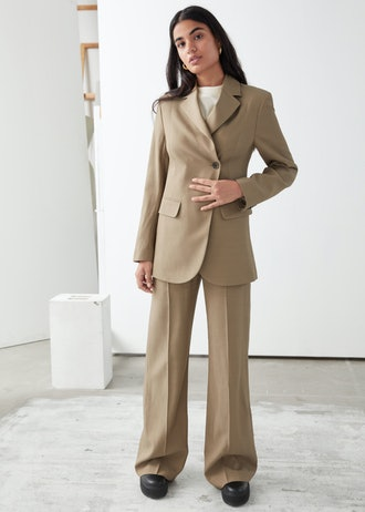 Fitted Single Breasted Overlap Blazer