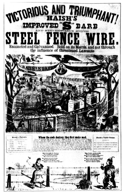 Early advertisement for barbed wire fencing, 1880-1889. The advent of barbed wire dramatically chang...