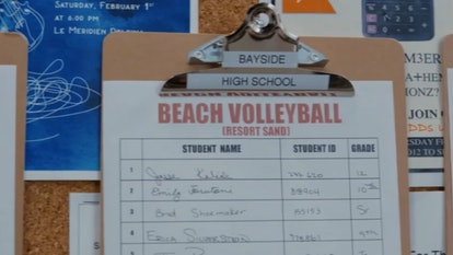 A beach volleyball signup sheet from the 'Saved by the Bell' reboot