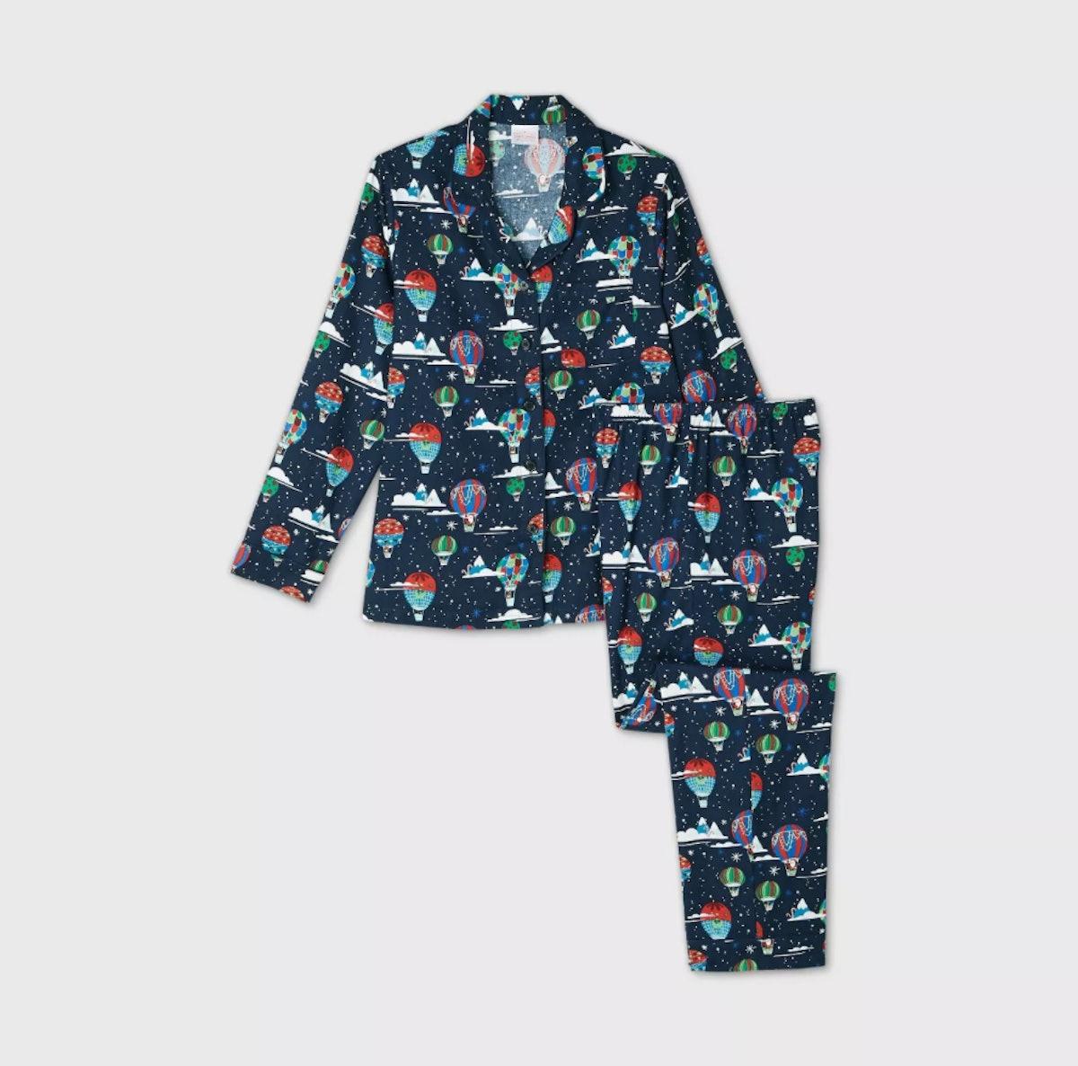Women's Holiday Hot Air Balloon Print Flannel Matching Family Pajama Set - Wondershop™ Navy