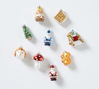 Mercury Glass Woodland Ornaments, Set of 9