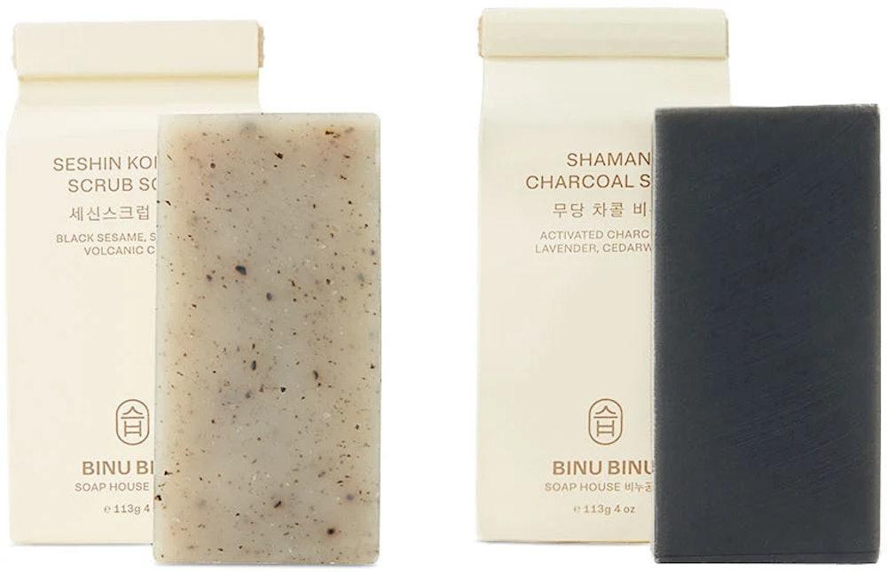 BINU BINU Shaman Charcoal & Seshin Korean Scrub Soap Set