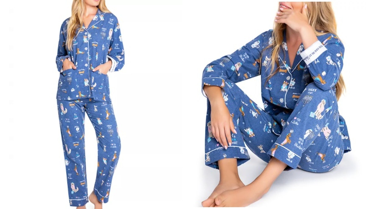 A side by side image features a woman wearing Hanukkah pajamas.