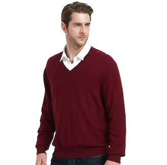 Kallspin Cashmere Wool Blended V-Neck Sweater