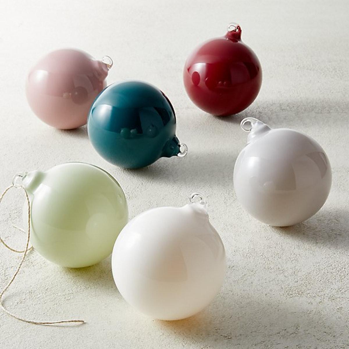 "Opaque 3"" Christmas Tree Ornaments — Set of 6"